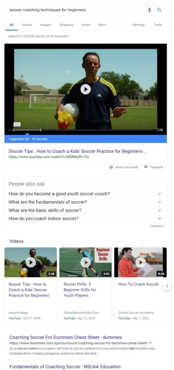 Google Search: soccer coaching
